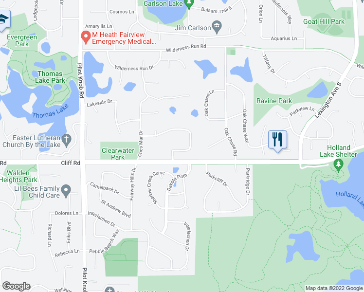 map of restaurants, bars, coffee shops, grocery stores, and more near 1260 Dunberry Lane in Eagan