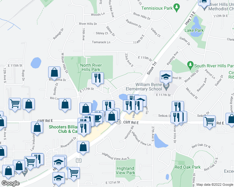 map of restaurants, bars, coffee shops, grocery stores, and more near 2309 East 117th Street in Burnsville