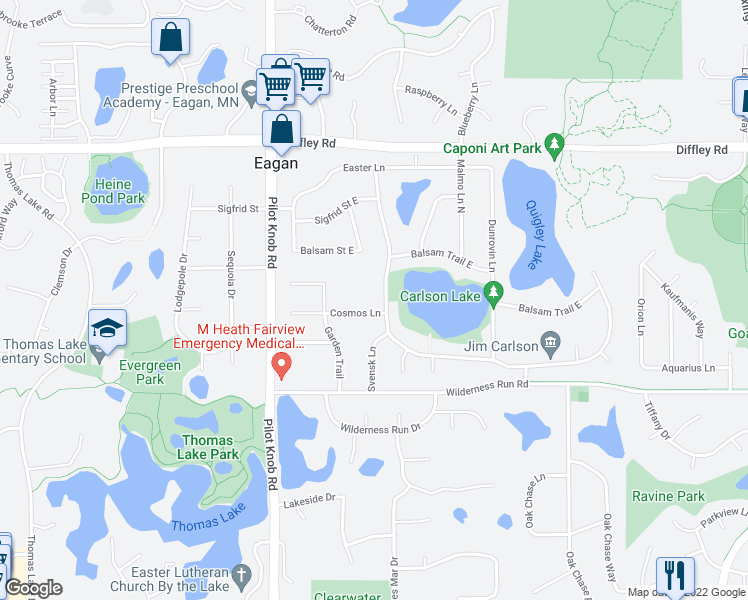 map of restaurants, bars, coffee shops, grocery stores, and more near 1345 Cosmos Lane in Eagan