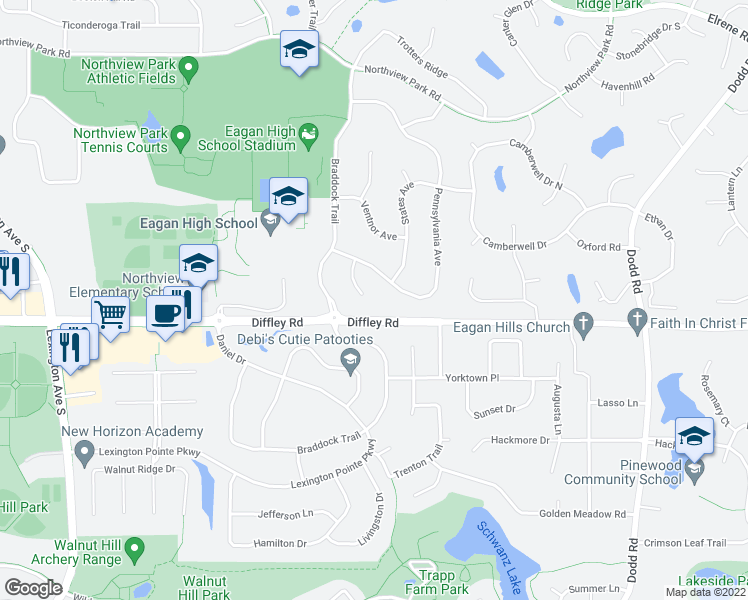 map of restaurants, bars, coffee shops, grocery stores, and more near 4196 Reading Road in Eagan