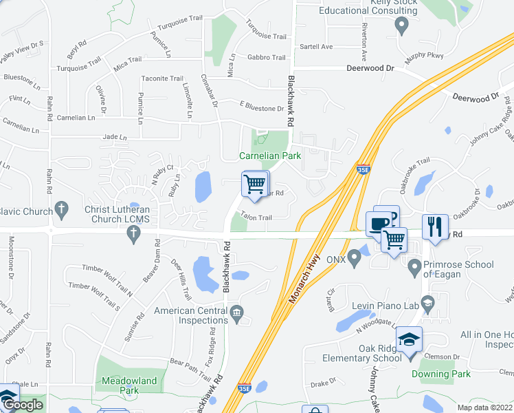 map of restaurants, bars, coffee shops, grocery stores, and more near 1835 Diffley Road in Eagan