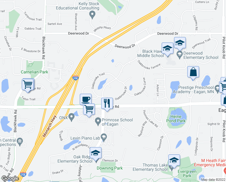 map of restaurants, bars, coffee shops, grocery stores, and more near 1628 Johnny Cake Ridge Way in Eagan