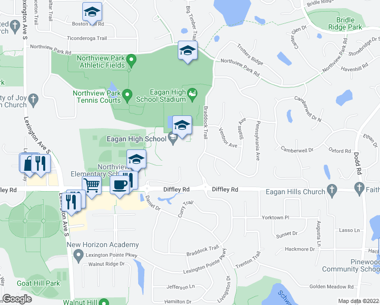 map of restaurants, bars, coffee shops, grocery stores, and more near 4185 Braddock Trail in Eagan