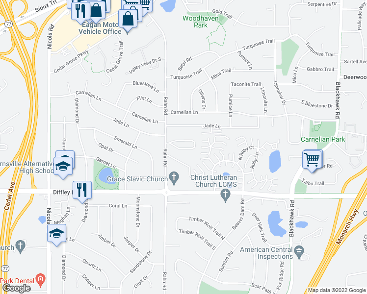 map of restaurants, bars, coffee shops, grocery stores, and more near 4110 Rahn Road in Eagan