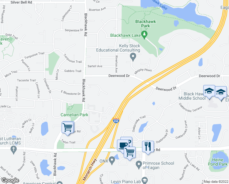 map of restaurants, bars, coffee shops, grocery stores, and more near 1720 Taconite Trail in Eagan
