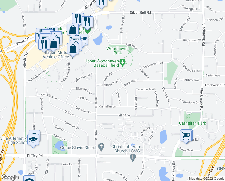 map of restaurants, bars, coffee shops, grocery stores, and more near 4035 Mica Trail in Eagan