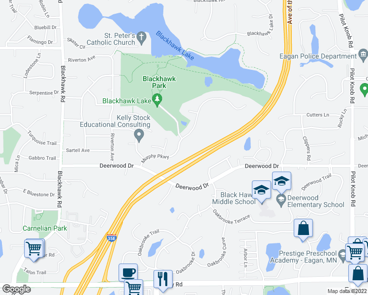 map of restaurants, bars, coffee shops, grocery stores, and more near 1638 Murphy Parkway in Eagan