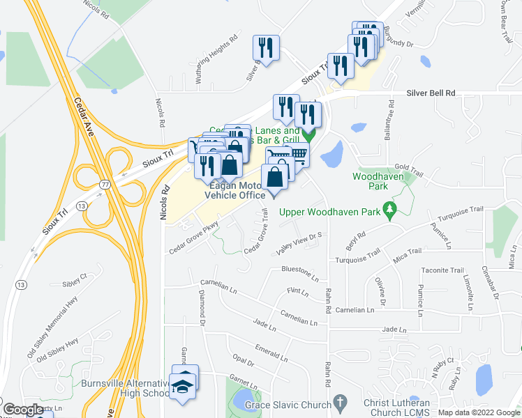map of restaurants, bars, coffee shops, grocery stores, and more near 2133 Cedar Grove Trail in Eagan