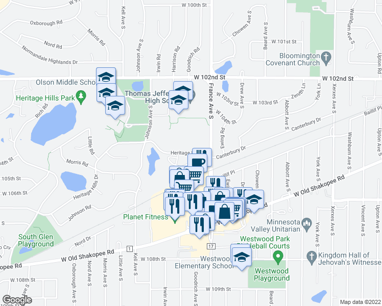 map of restaurants, bars, coffee shops, grocery stores, and more near 3909 Heritage Hills Drive in Minneapolis