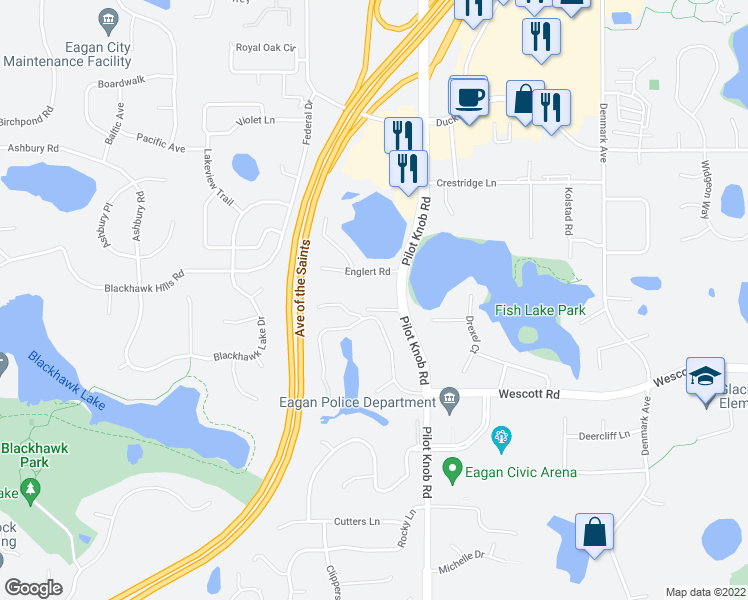 map of restaurants, bars, coffee shops, grocery stores, and more near 3729 Pilot Knob Road in Eagan