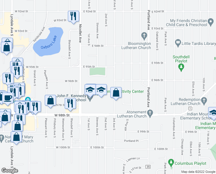 map of restaurants, bars, coffee shops, grocery stores, and more near 9600 3rd Avenue South in Minneapolis