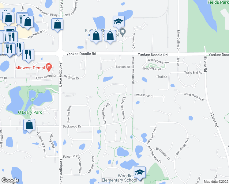 map of restaurants, bars, coffee shops, grocery stores, and more near Springwood Court in Eagan