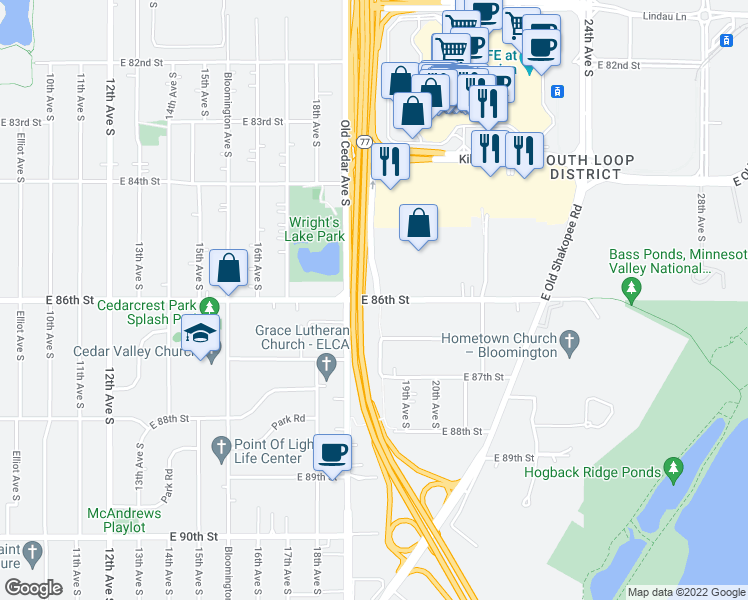 map of restaurants, bars, coffee shops, grocery stores, and more near 1920 E 86th St in Bloomington