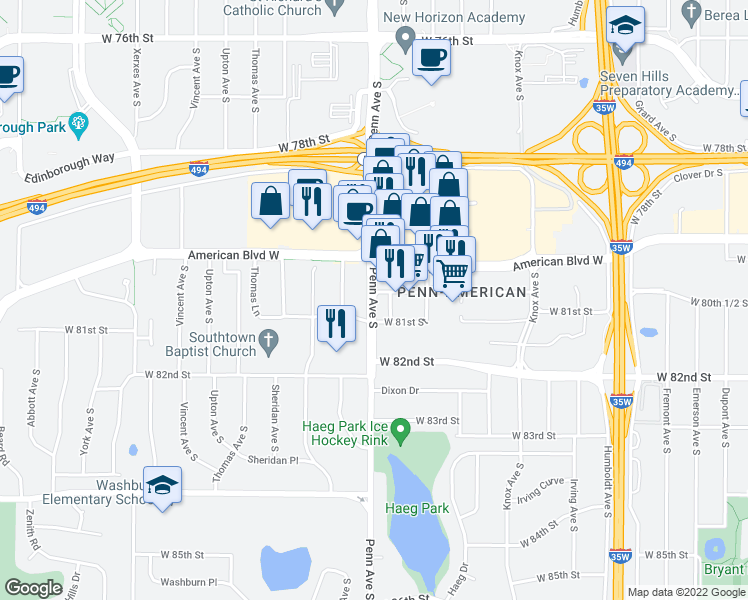 map of restaurants, bars, coffee shops, grocery stores, and more near 8040 Penn Ave S in Minneapolis