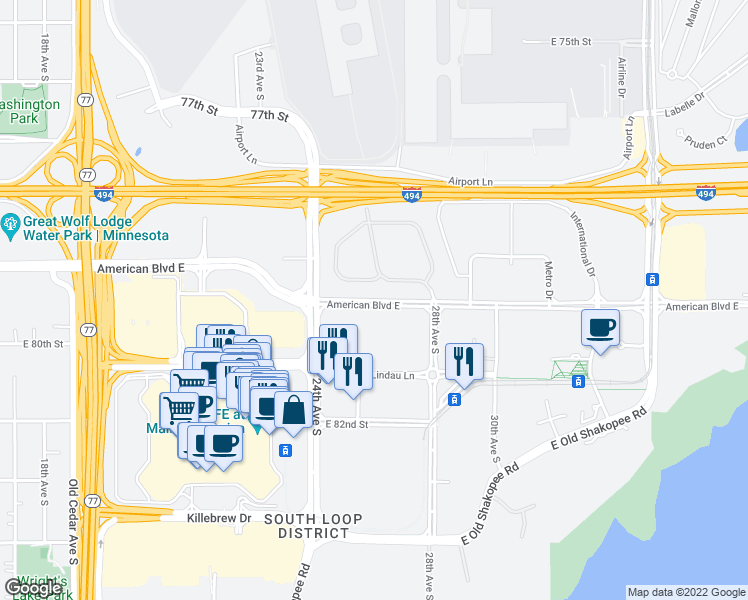 map of restaurants, bars, coffee shops, grocery stores, and more near American Blvd E in Minneapolis