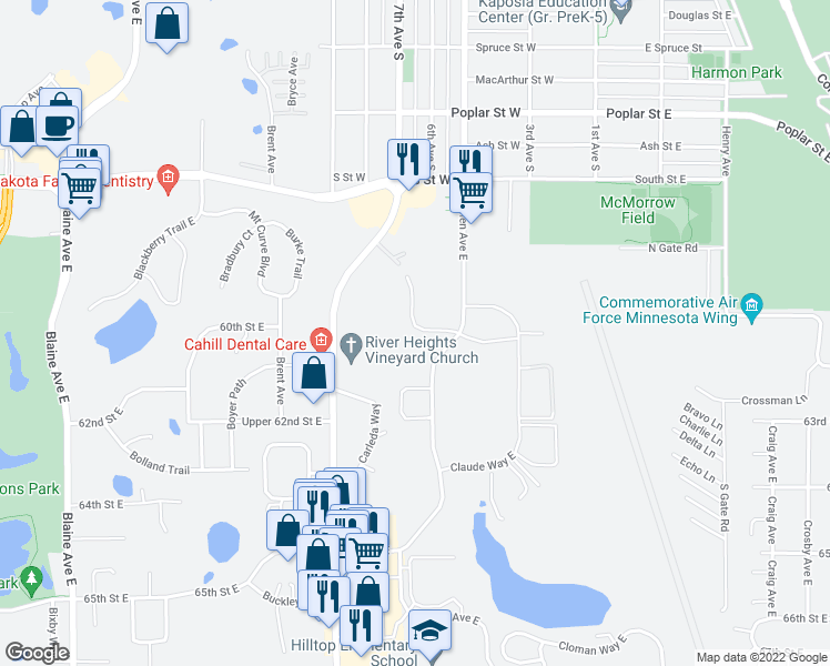 map of restaurants, bars, coffee shops, grocery stores, and more near 5901-6099 Candace Avenue in Inver Grove Heights