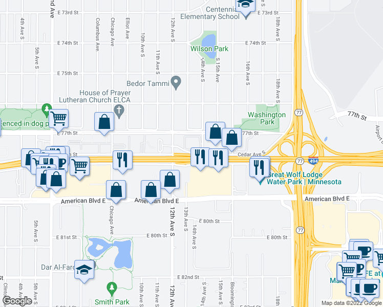 map of restaurants, bars, coffee shops, grocery stores, and more near 1306 E 78th St in Minneapolis