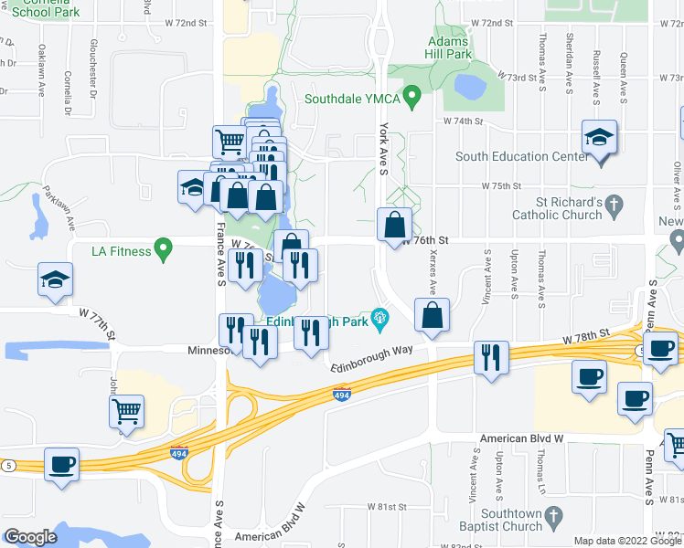 map of restaurants, bars, coffee shops, grocery stores, and more near 7606 York Ave S in Minneapolis