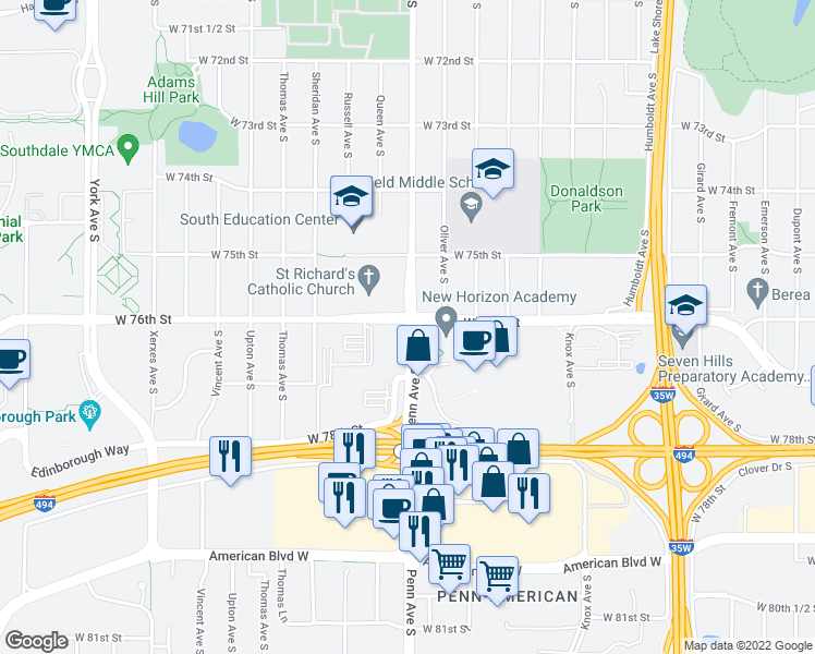 map of restaurants, bars, coffee shops, grocery stores, and more near 7600 Penn Avenue South in Minneapolis