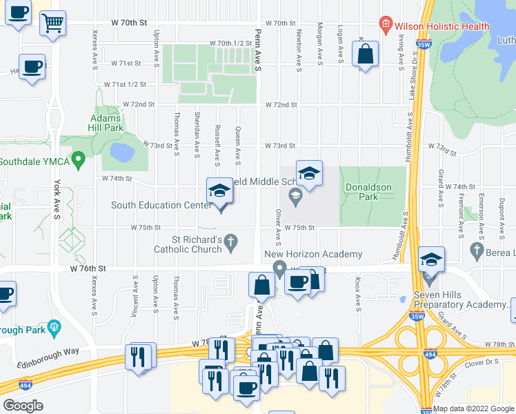 map of restaurants, bars, coffee shops, grocery stores, and more near 7420-7498 Penn Avenue South in Richfield