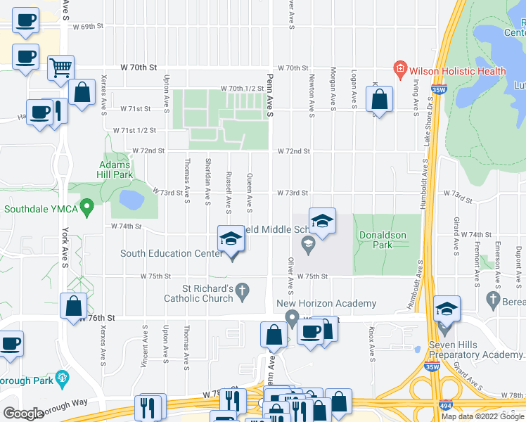 map of restaurants, bars, coffee shops, grocery stores, and more near 7332 Penn Ave S in Minneapolis