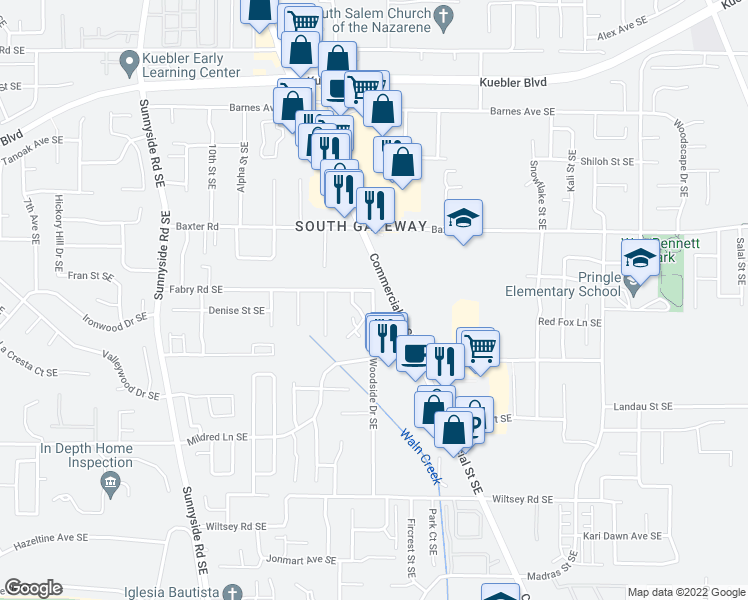map of restaurants, bars, coffee shops, grocery stores, and more near 5565 Woodside Drive Southeast in Salem