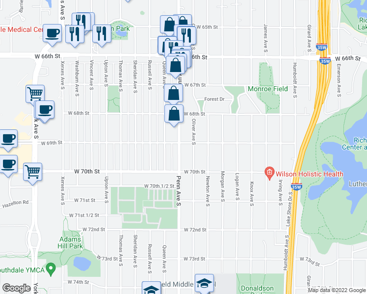 map of restaurants, bars, coffee shops, grocery stores, and more near 6848 Oliver Avenue South in Minneapolis