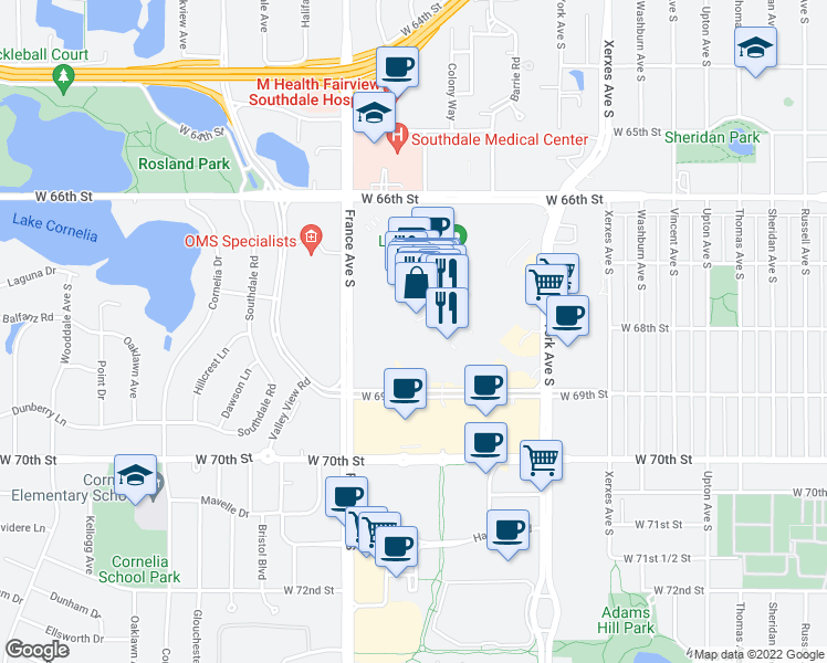 map of restaurants, bars, coffee shops, grocery stores, and more near 10 Southdale Center in Edina