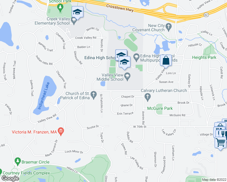 map of restaurants, bars, coffee shops, grocery stores, and more near 6800-6872 Valley View Rd in Edina
