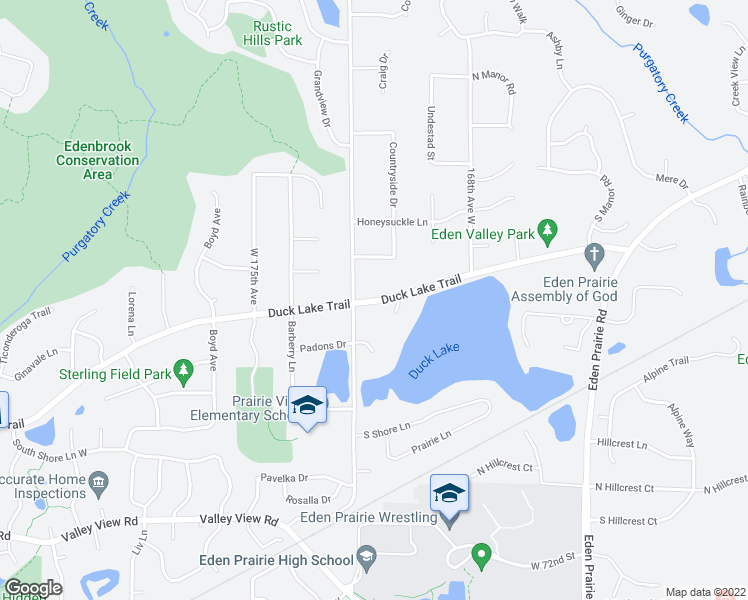 map of restaurants, bars, coffee shops, grocery stores, and more near 17109 Duck Lake Trail in Eden Prairie