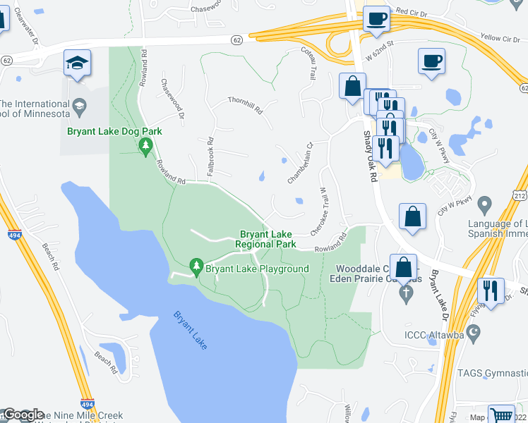 map of restaurants, bars, coffee shops, grocery stores, and more near 6572-6614 Rowland Road in Eden Prairie