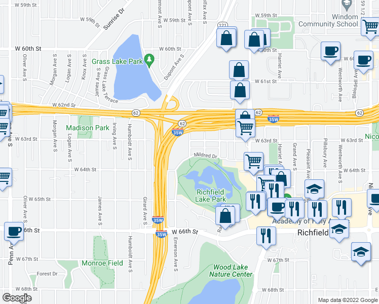 map of restaurants, bars, coffee shops, grocery stores, and more near 6304 Dupont Avenue South in Minneapolis