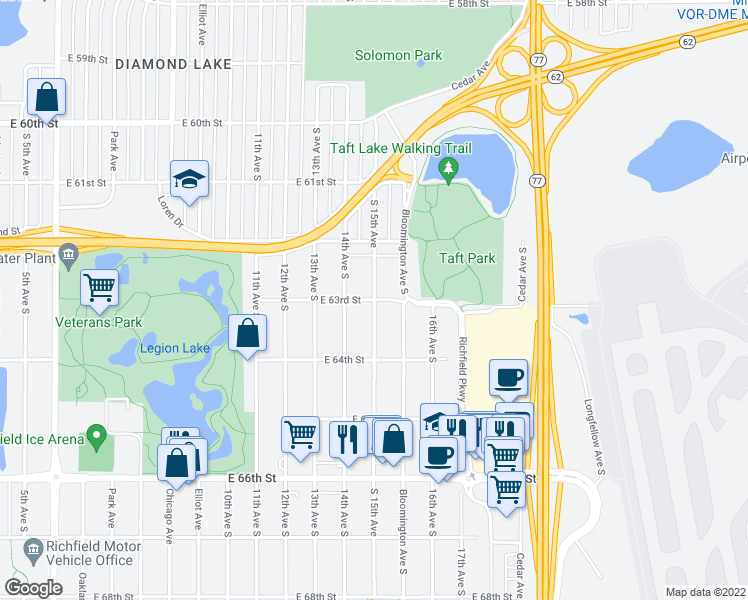 map of restaurants, bars, coffee shops, grocery stores, and more near 15th Ave S & E 63rd St in Minneapolis