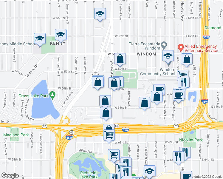 map of restaurants, bars, coffee shops, grocery stores, and more near Lyndale Ave S & W 60th St in Minneapolis