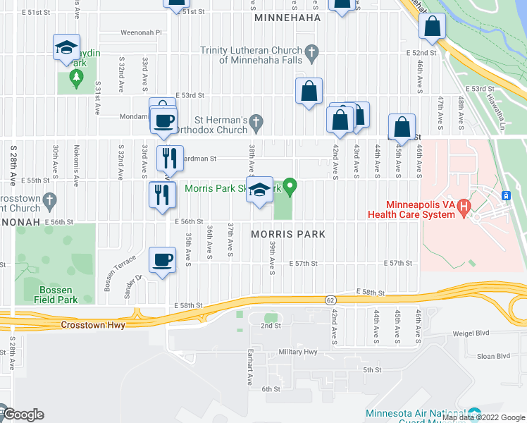 map of restaurants, bars, coffee shops, grocery stores, and more near 5533 38th Avenue South in Minneapolis