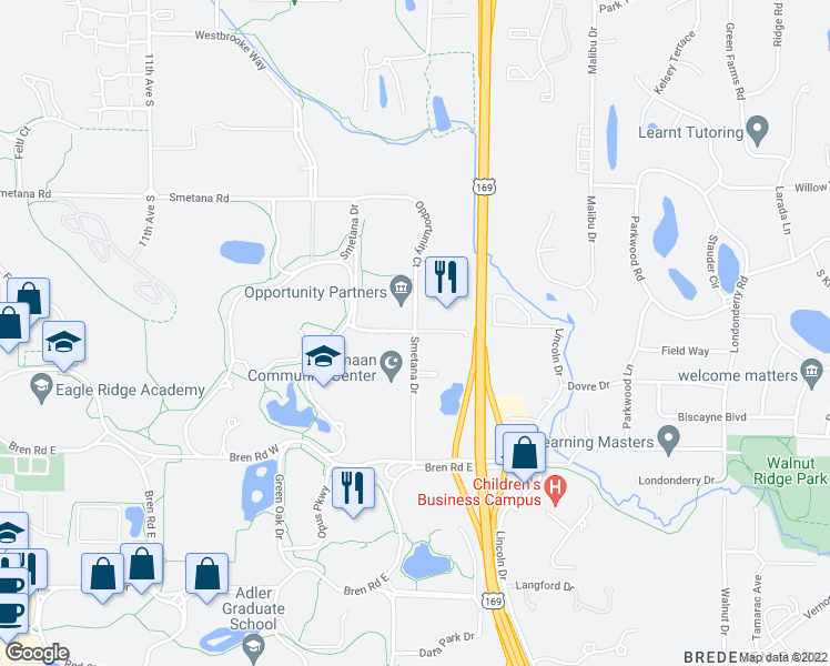map of restaurants, bars, coffee shops, grocery stores, and more near 9501-9799 Smetana Court in Minnetonka