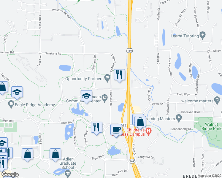 map of restaurants, bars, coffee shops, grocery stores, and more near Smetana Dr & Smetana Ct in Minnetonka