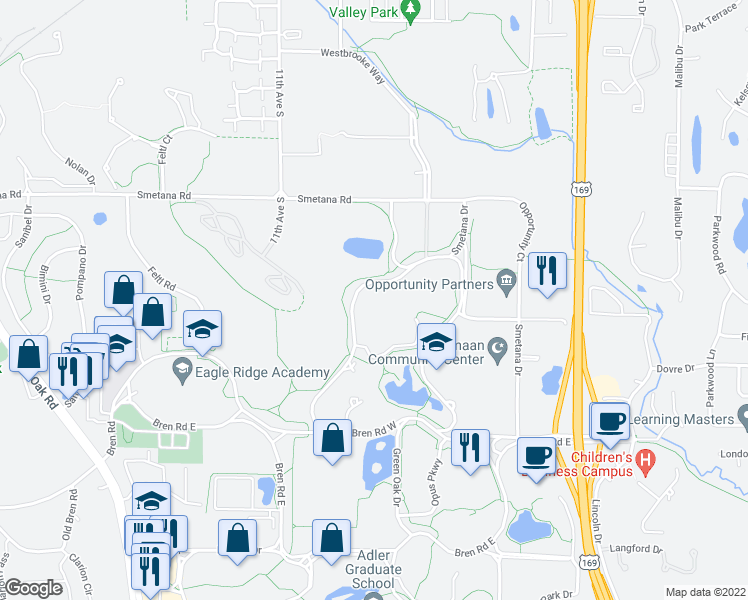 map of restaurants, bars, coffee shops, grocery stores, and more near 5697 Green Circle Drive in Hopkins