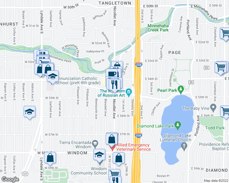 map of restaurants, bars, coffee shops, grocery stores, and more near Nicollet Avenue & East Diamond Lake Road in M