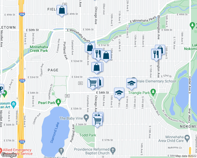 map of restaurants, bars, coffee shops, grocery stores, and more near 5301 Chicago Avenue South in Minneapolis