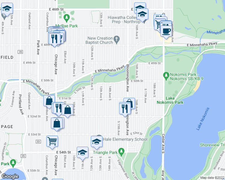 map of restaurants, bars, coffee shops, grocery stores, and more near 5029 14th Ave S in Minneapolis