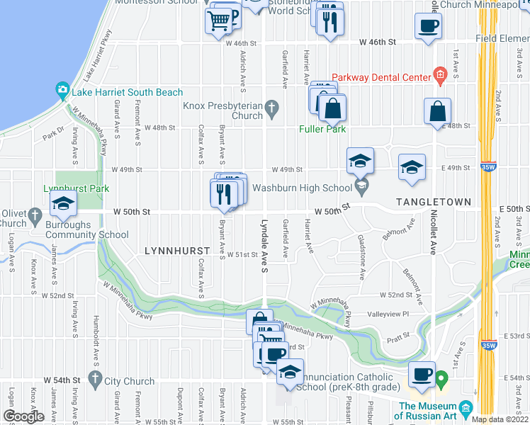 map of restaurants, bars, coffee shops, grocery stores, and more near Lyndale Avenue South & West 50th Street in Minneapolis