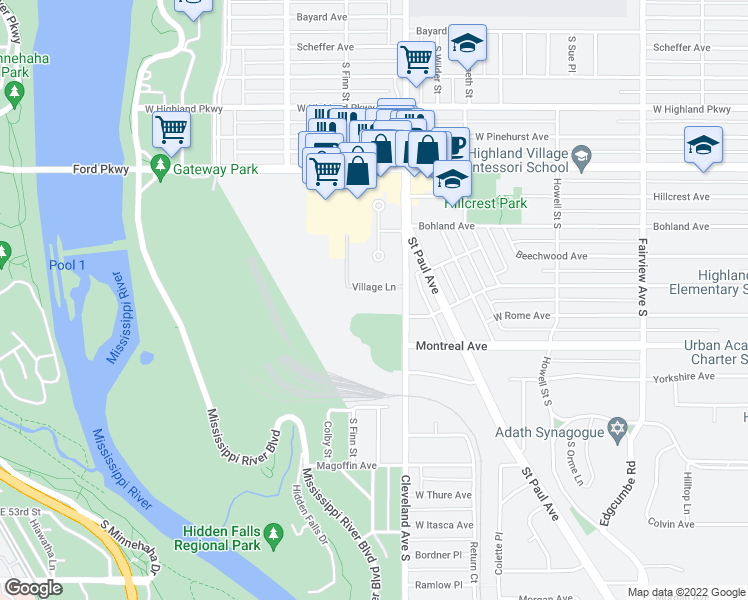 map of restaurants, bars, coffee shops, grocery stores, and more near 899 Cleveland Avenue South in Saint Paul