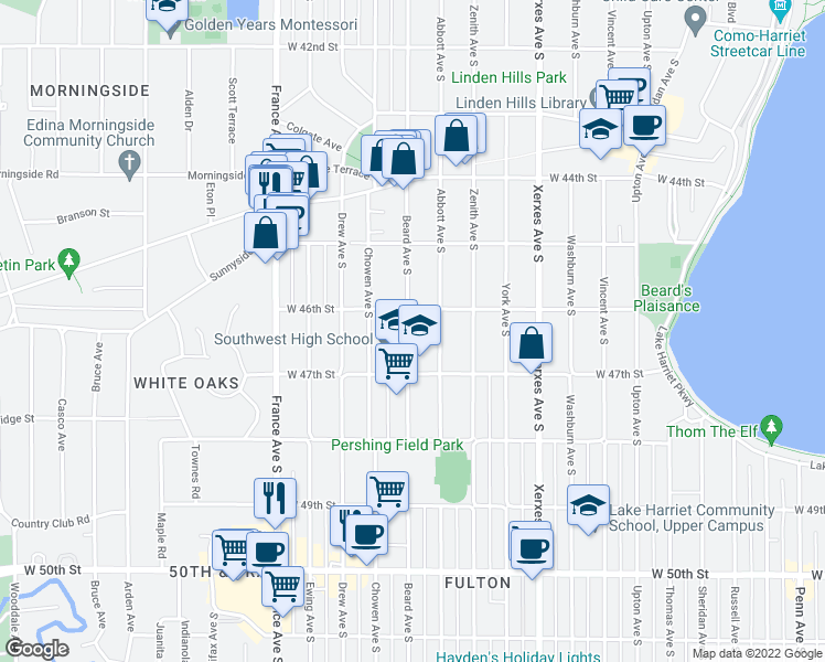 map of restaurants, bars, coffee shops, grocery stores, and more near 4622 Beard Avenue South in Minneapolis