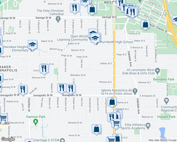 map of restaurants, bars, coffee shops, grocery stores, and more near 14 City View Lane in Saint Paul