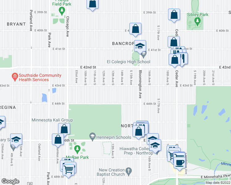 map of restaurants, bars, coffee shops, grocery stores, and more near 4300 13th Ave S in Minneapolis