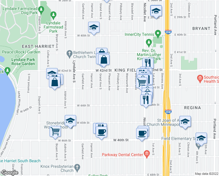 map of restaurants, bars, coffee shops, grocery stores, and more near Pleasant Ave & W 43rd St in Minneapolis