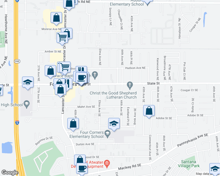 map of restaurants, bars, coffee shops, grocery stores, and more near 4319-4321 State Street in