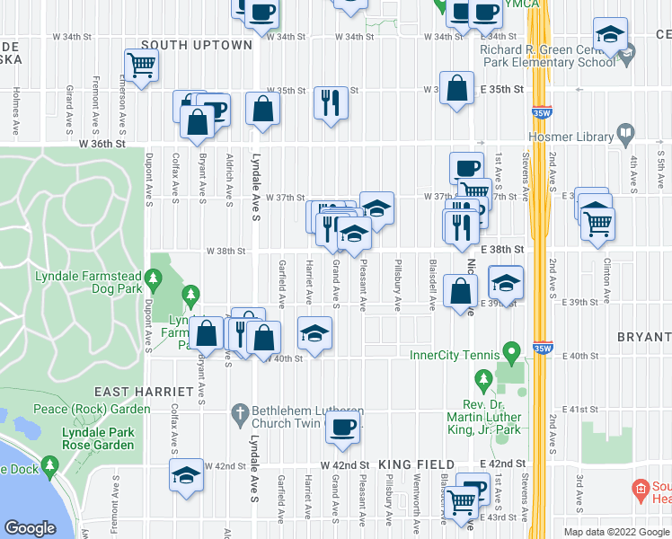map of restaurants, bars, coffee shops, grocery stores, and more near 405-499 West 38th Street in Minneapolis