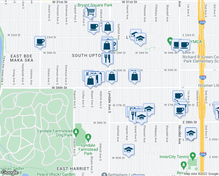 map of restaurants, bars, coffee shops, grocery stores, and more near Lyndale Avenue South & West 36th Street in Minneapolis